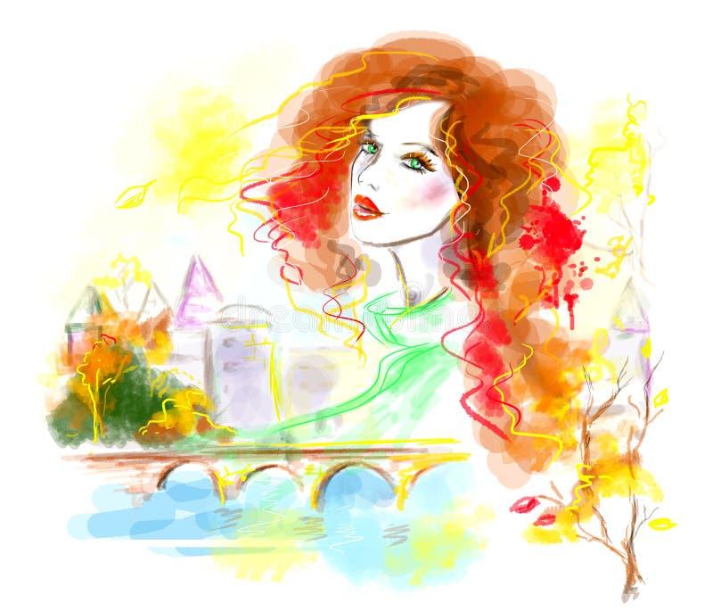 Mångfärgad abstrakt höstkvinna i stad Härlig kvinna för mode i gata stock illustrationer