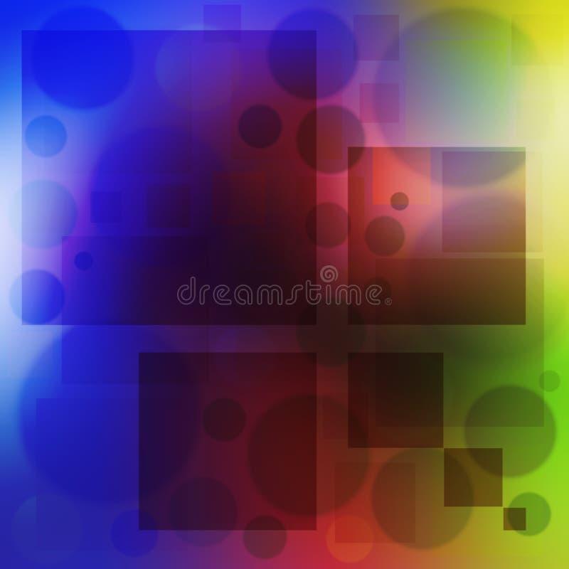 Mångfärgad bakgrund bubblar cirklar och mjuk färg för fyrkant vektor illustrationer