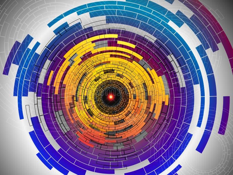 Mångfärgad bakgrund för abstrakt tech stock illustrationer