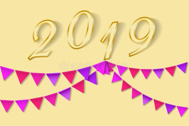 Mångfärgad Bunting för hälsningkortet 2019 för lyckligt nytt år royaltyfri illustrationer