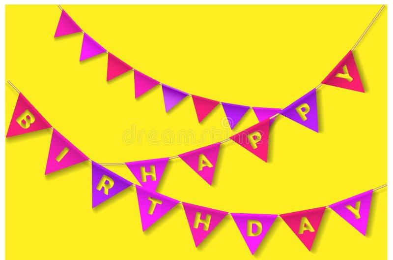 Mångfärgad Bunting Flaggor för lycklig födelsedag vektor illustrationer