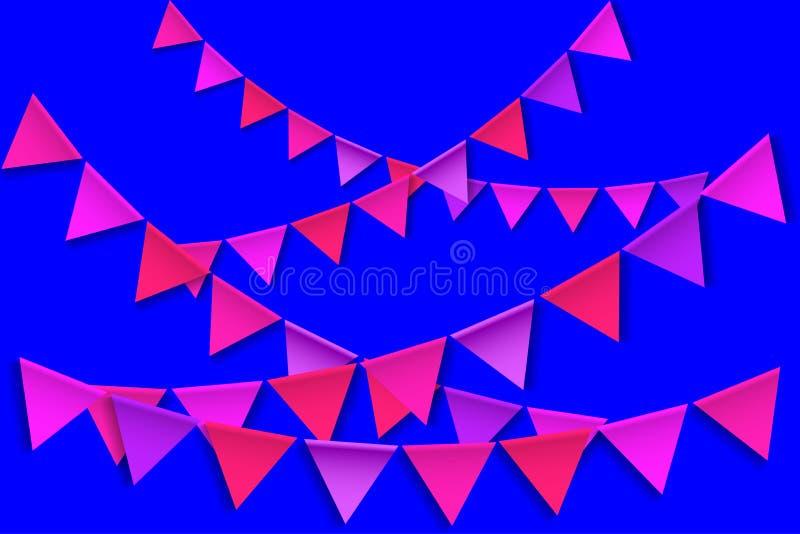 Mångfärgad Bunting Flaggor för lycklig födelsedag royaltyfri illustrationer