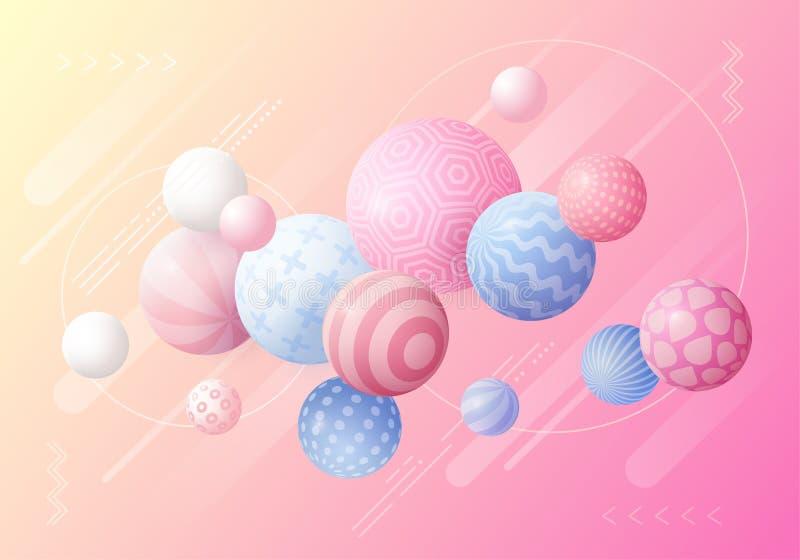 Mångfärgad dekorativ bakgrund med bollar 3D stock illustrationer