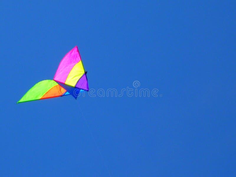 Mångfärgad drake i himlen royaltyfri bild