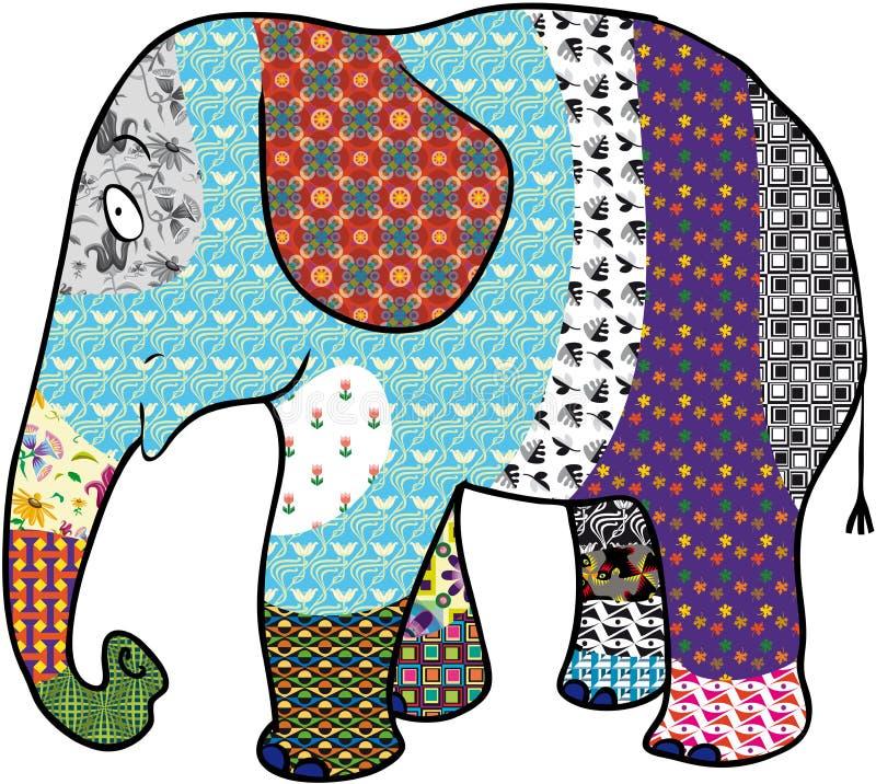 Mångfärgad elefant royaltyfri illustrationer