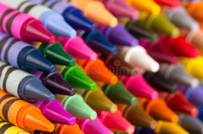 Mångfärgad färgpennacloseup royaltyfri bild