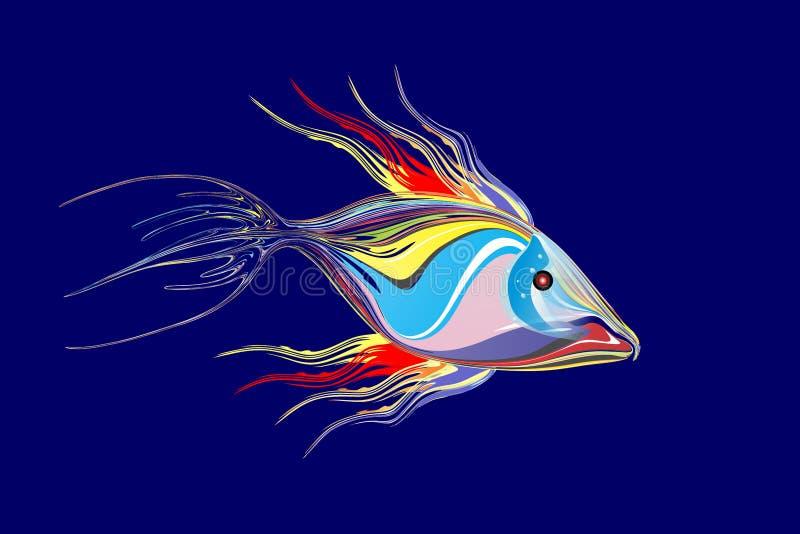 Mångfärgad fiskbakgrund för abstrakt vektor med belysningeffekt, vektorillustration