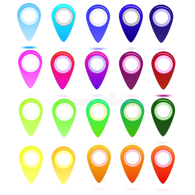 Mångfärgad glansig uppsättning för översiktspunktsymboler för världskartan, pilrengöringsduksymbol, ingreppsobjekt, infographics stock illustrationer