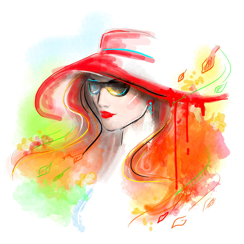 Mångfärgad höst härlig modekvinna abstrakt höst Illustrationvattenfärg stock illustrationer