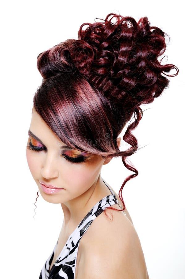 mångfärgad idérik frisyr arkivbild