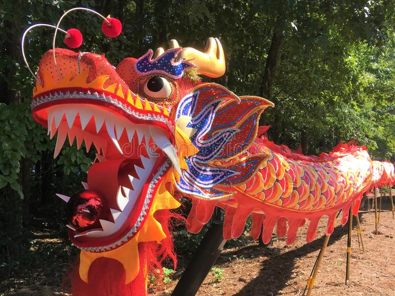 Mångfärgad kinesisk drakedocka royaltyfri bild