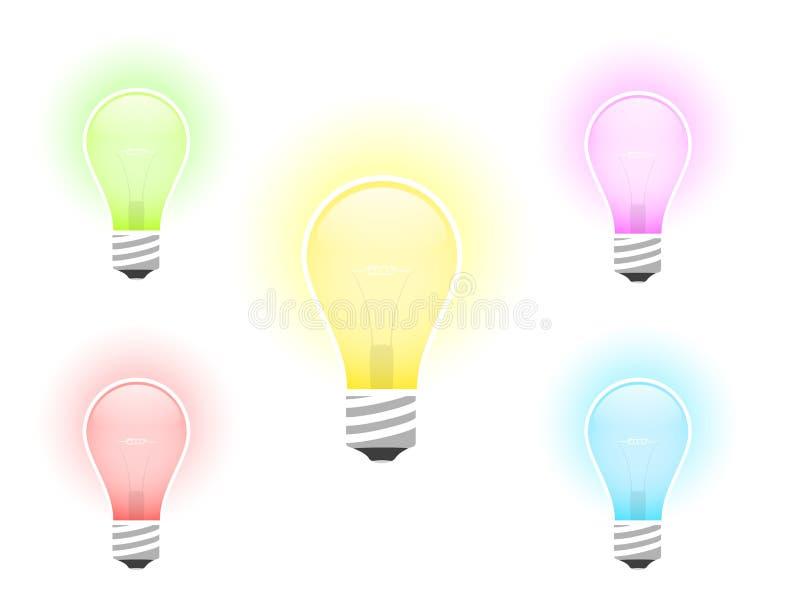 mångfärgad kulaillustrationlampa royaltyfri illustrationer