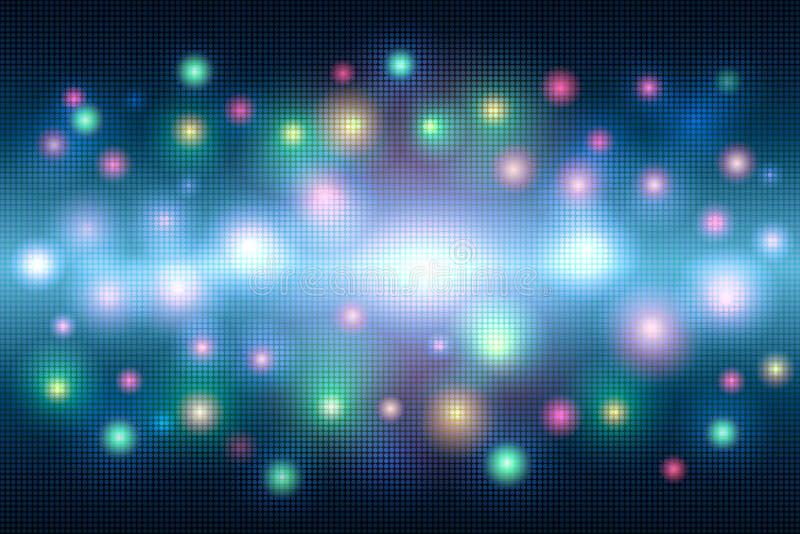Mångfärgad ljus bakgrund för magiabstrakt begreppmosaik av prickar och en ljusblixt royaltyfri illustrationer