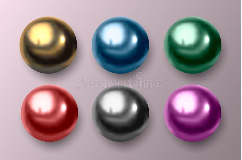 Mångfärgad metall och plast- bollar också vektor för coreldrawillustration stock illustrationer