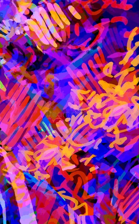 Mångfärgad neonbakgrund av slaglängder, klottrar royaltyfri illustrationer