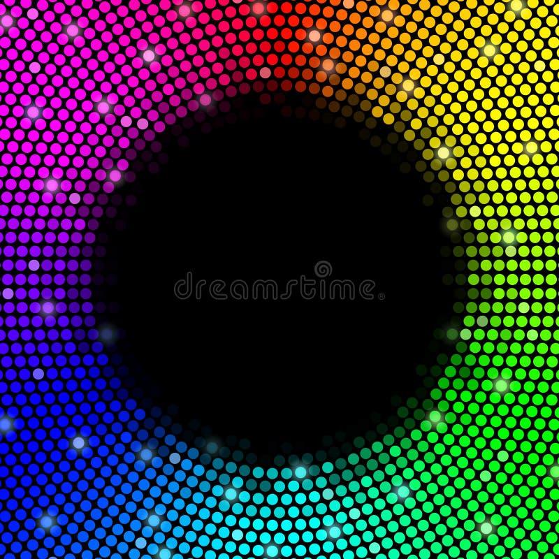 Mångfärgad prickbakgrund, rund ram vektor royaltyfri illustrationer