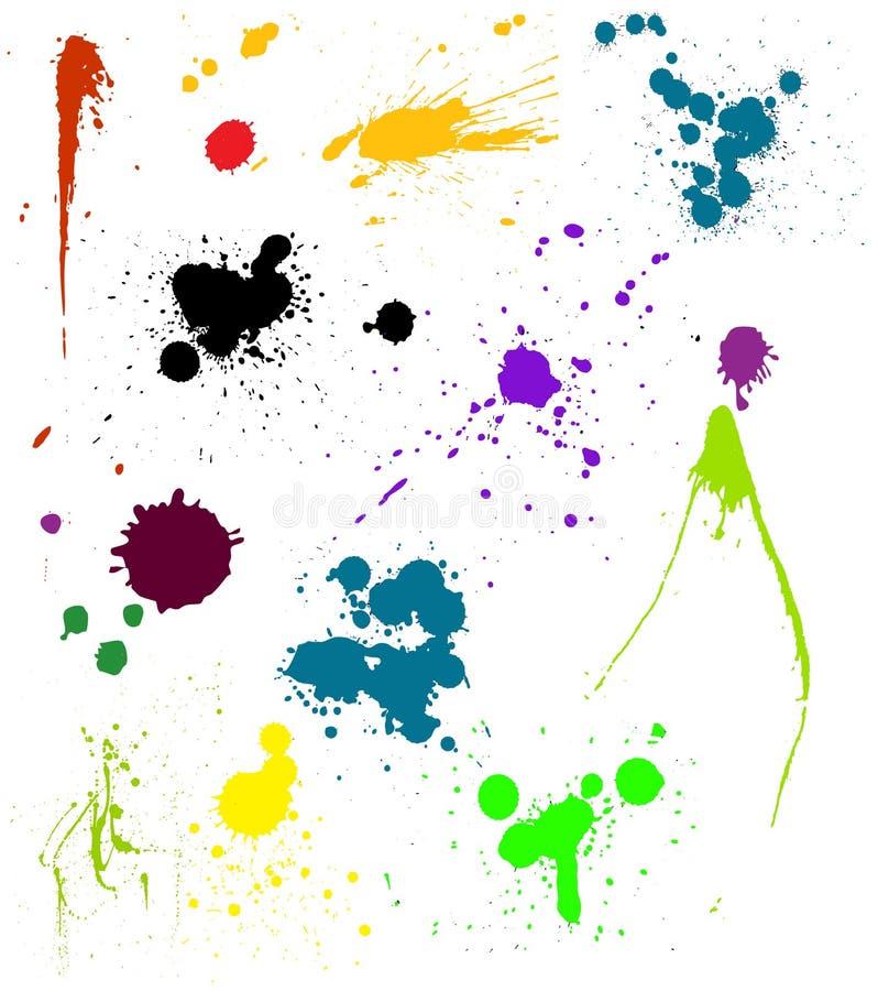 mångfärgad splatsvektor stock illustrationer