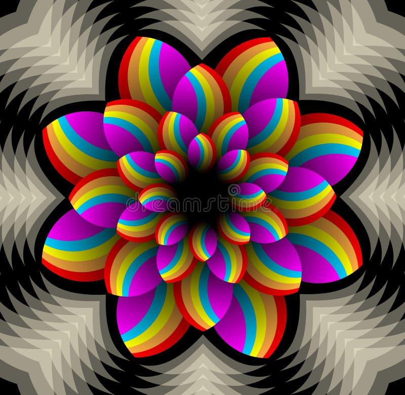 Mångfärgad stjärnaform med rumslig effekt i fractalstil, dekorativ designbeståndsdel för vektor Blom- abstrakt motiv vektor illustrationer