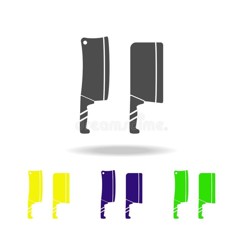 mångfärgad symbol för handyxahandyxor Beståndsdel av den mångfärgade symbolen för kitchenware Tecknet symbol för översiktssymbols royaltyfri illustrationer