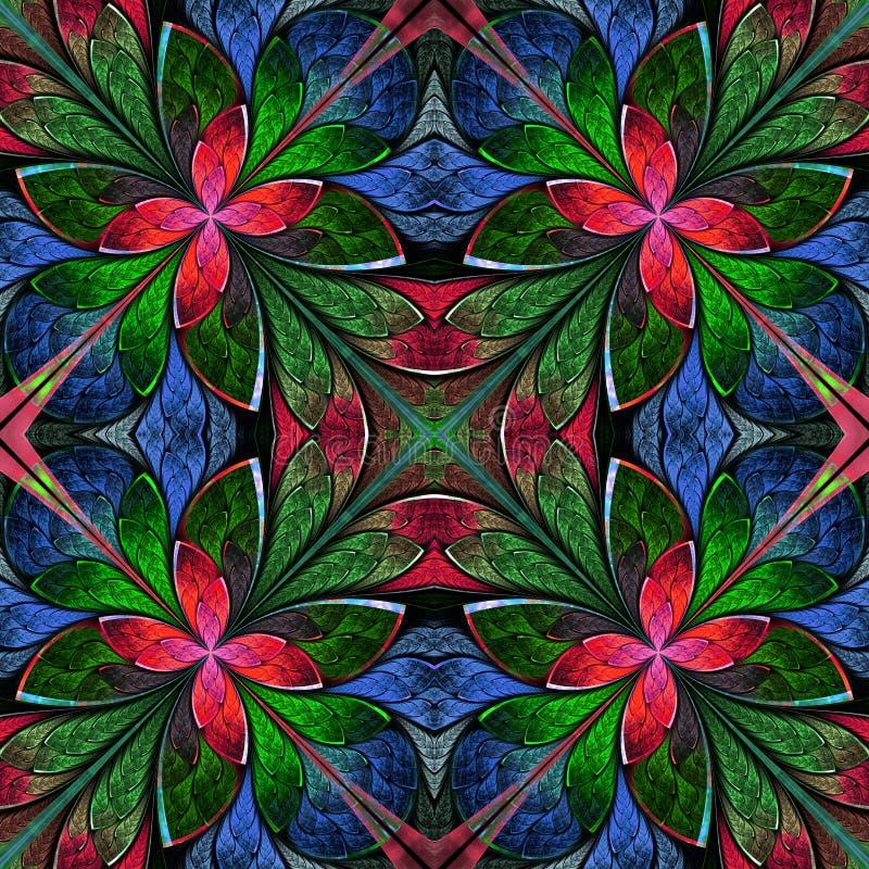 Mångfärgad symmetrisk fractalmodell i målat glassfönster royaltyfri illustrationer