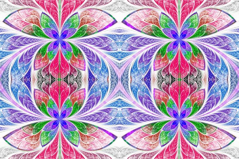 Mångfärgad symmetrisk modell i stil för målat glassfönster stock illustrationer