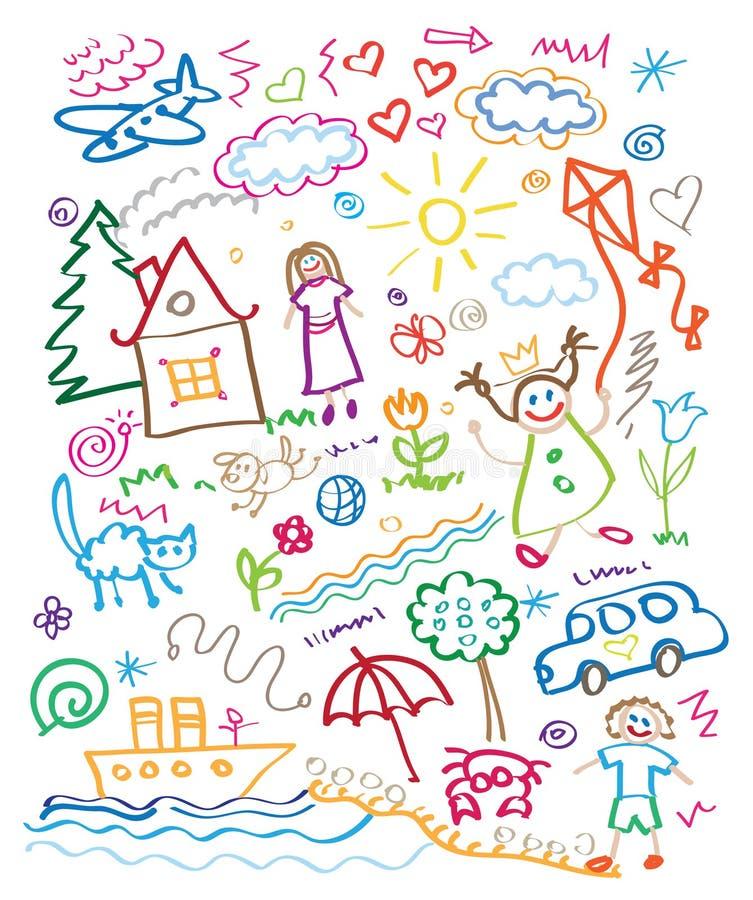 Mångfärgad uppsättning för barnteckningsstil stock illustrationer