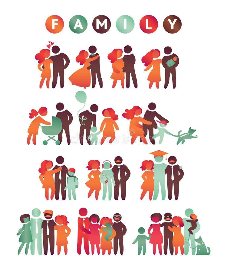 Mångfärgad uppsättning för lycklig familjsymbol i enkla diagram Barn, farsan och mamman står tillsammans Vektorn kan användas som vektor illustrationer