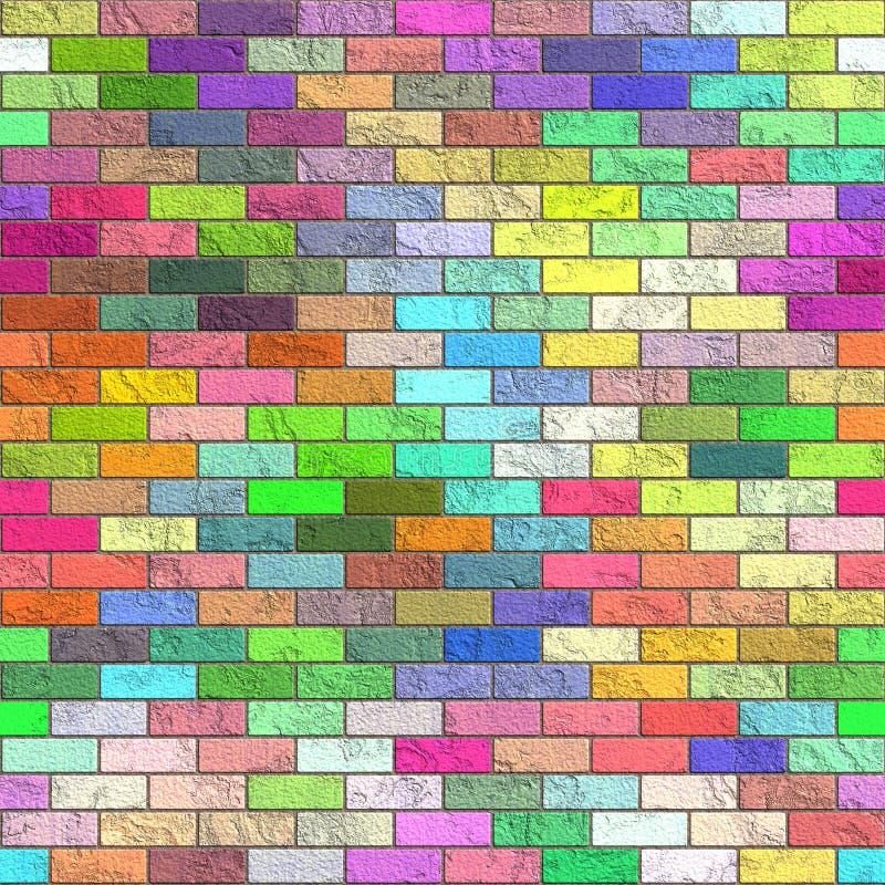 mångfärgad vägg för tegelstenar royaltyfri illustrationer