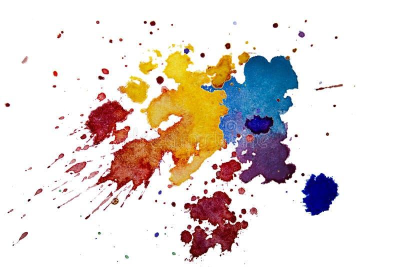 Mångfärgad vattenfärgfärgstänktextur bläckar ner isolerad bakgrund Drog klick, fläck och små droppar för Grunge hand Akvarellen p royaltyfri illustrationer