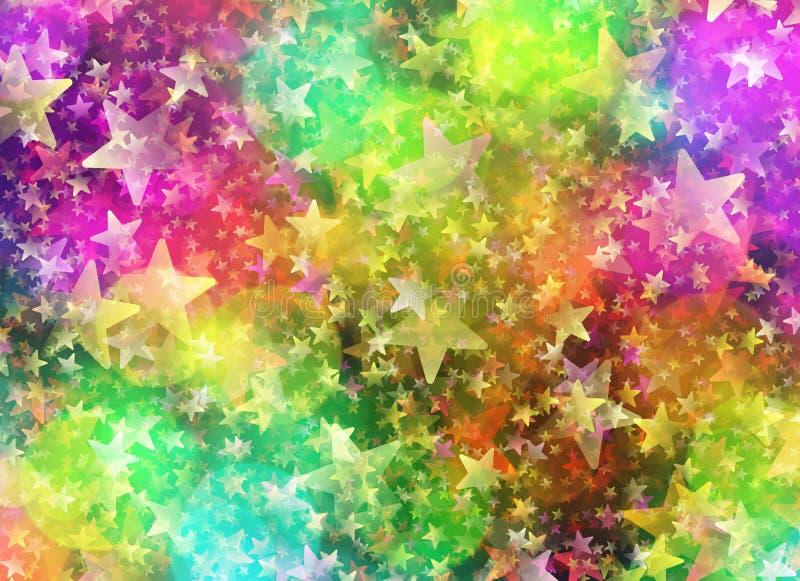 Mångfärgade Bokeh från runda- och stjärnaformer i kaotiskt ordnar vektor illustrationer