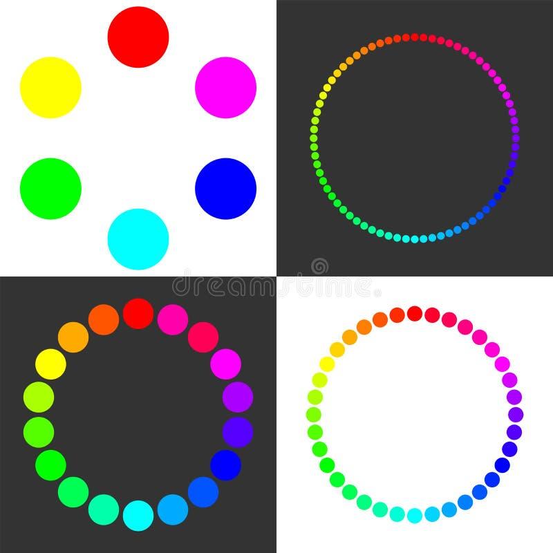 Mångfärgade cirklar med slät övergång av färger Designströmbrytare stock illustrationer