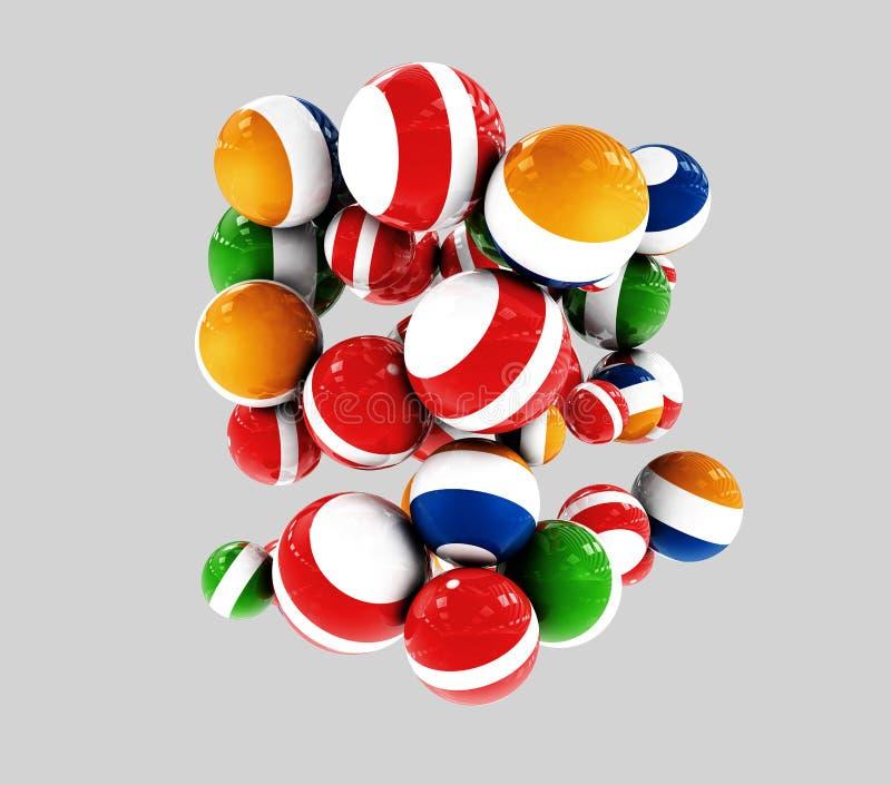 Mångfärgade dekorativa bollar på grå bakgrund, abstrakt begrepp, illustration 3d vektor illustrationer