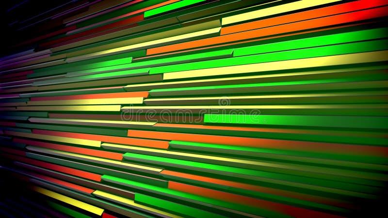 Mångfärgade dynamiska rullgardiner som Aslant förläggas vektor illustrationer