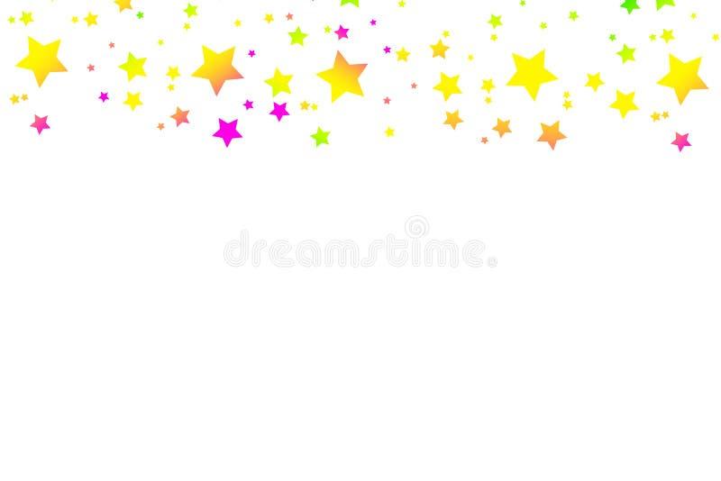 Mångfärgade fallande stjärnor av konfettier Lyxig ljus festlig bakgrund Rosa färger gräsplan, blått, turkos, lila stock illustrationer