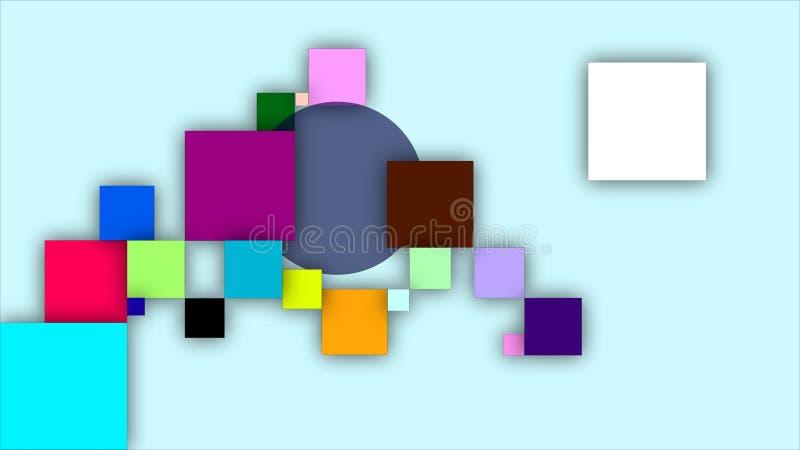Mångfärgade fyrkanter och en cirkel royaltyfri illustrationer
