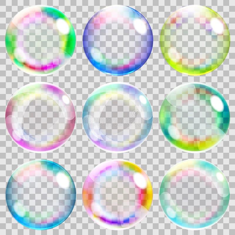Mångfärgade genomskinliga såpbubblor royaltyfri illustrationer