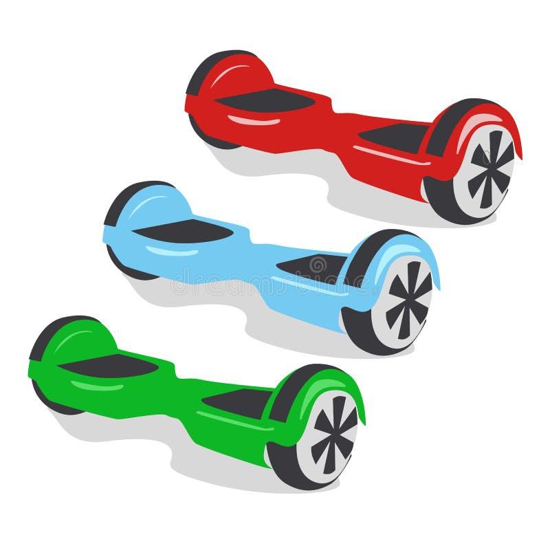 Mångfärgade gyroskop, personlig ecotransport, gyroskopsparkcykel, smart jämviktshjul Nya moderna teknologier vektor illustrationer