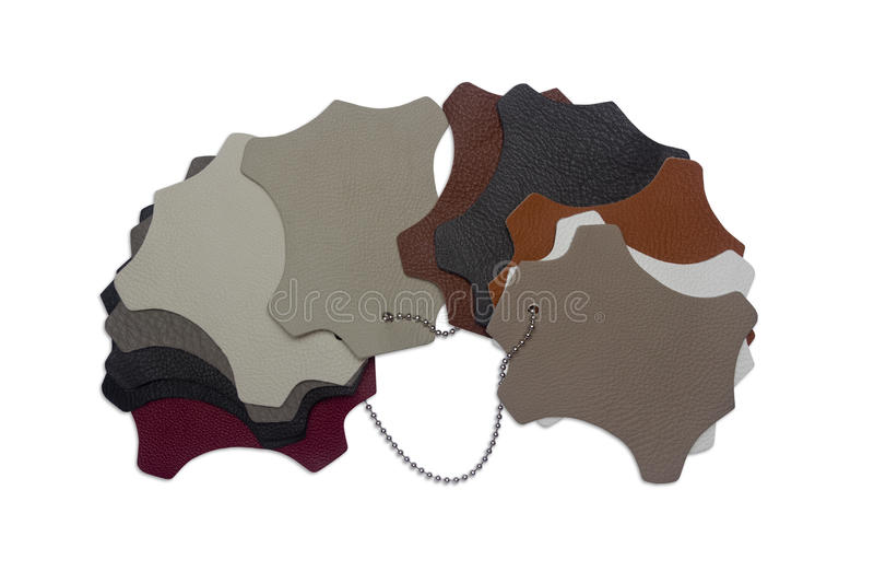 Mångfärgade isolerade läderprövkopior - arkivfoto