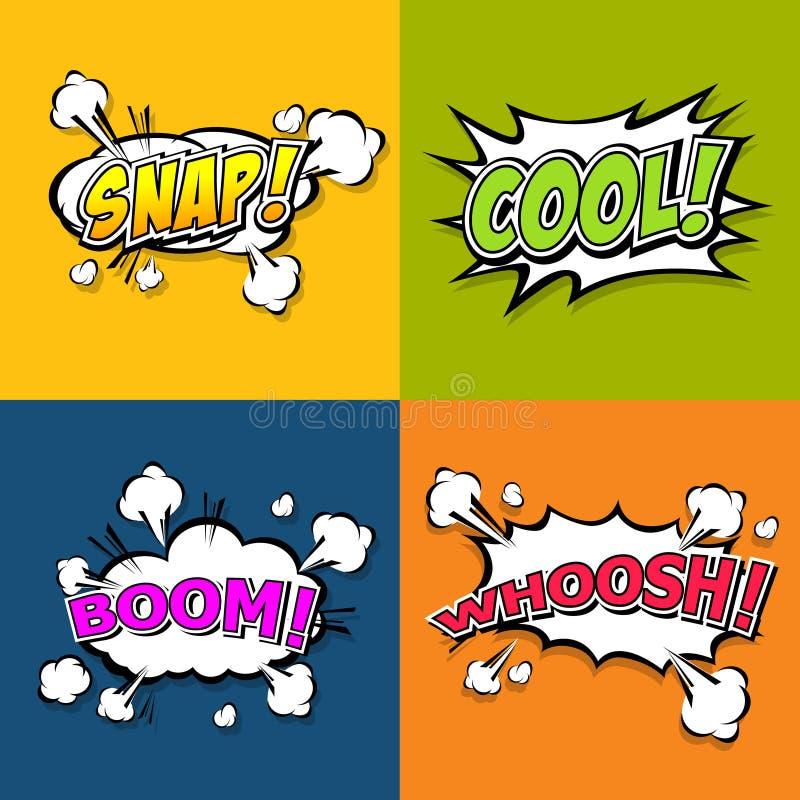 Mångfärgade komiska solida effekter för samling stock illustrationer