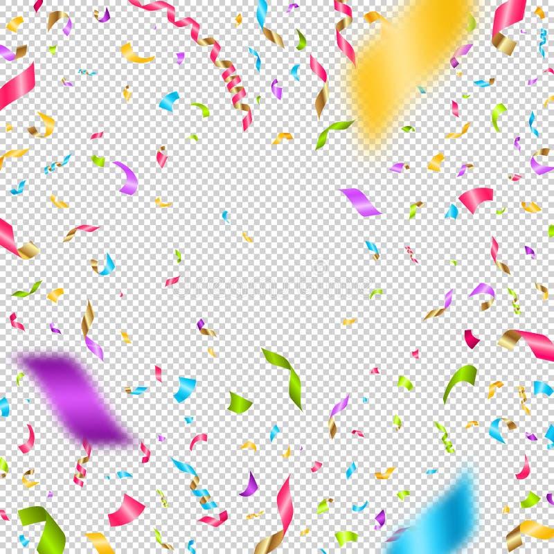 Mångfärgade konfettier på en rutig bakgrund Kan användas över någon bild stock illustrationer