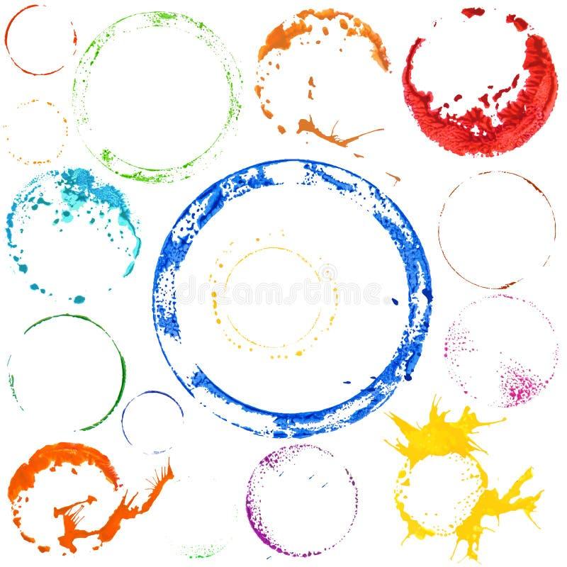 Mångfärgade målarfärgcirklar för vektor stock illustrationer
