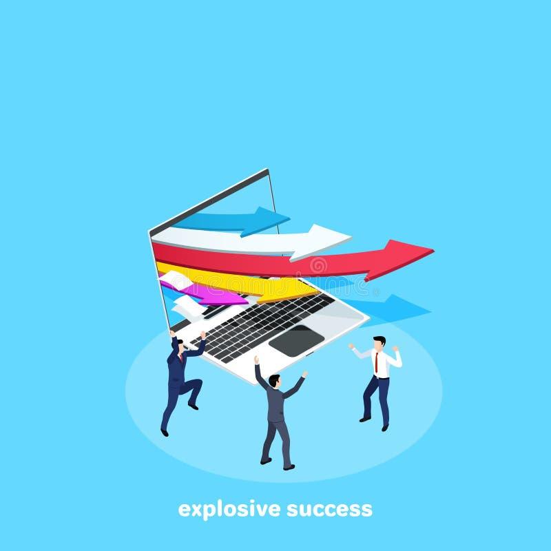 Mångfärgade pilar som flyger ut ur bärbar datorskärmen och jublar män i affärsdräkter stock illustrationer