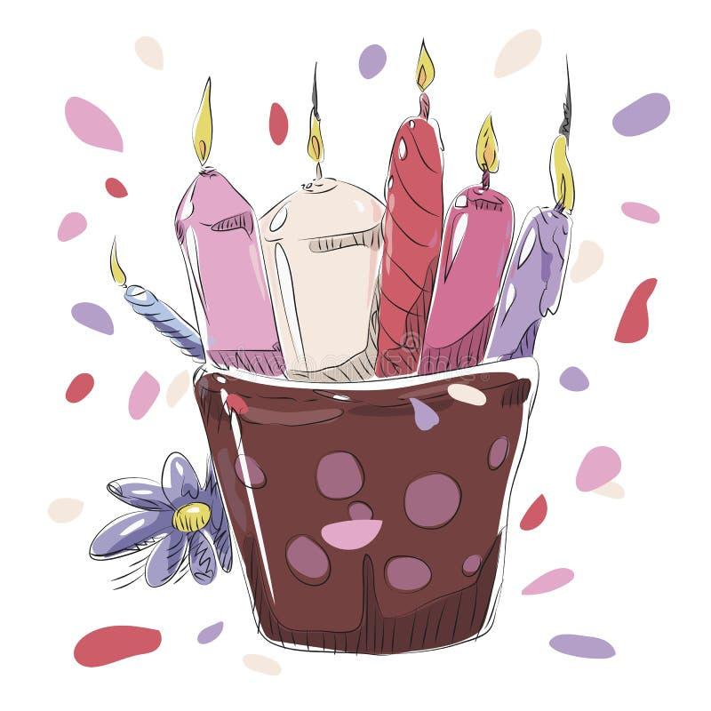 Mångfärgade röda rosa purpurfärgade stearinljus i ett exponeringsglas av bränning för brand för gåva för blommor för födelsedag f vektor illustrationer
