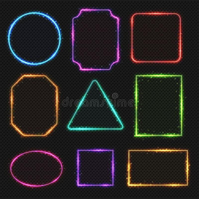Mångfärgade ramar för neonvektorgräns Enkla former av ljusa baner vektor illustrationer
