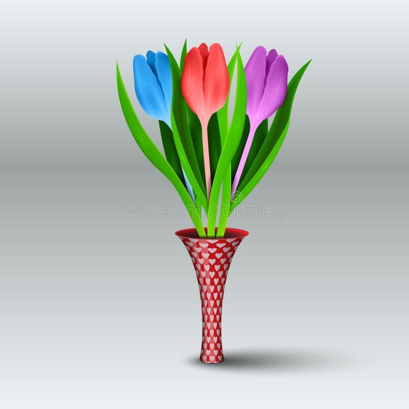 Mångfärgade realistiska tulpan i en tunn vas på en grå bakgrund också vektor för coreldrawillustration vektor illustrationer