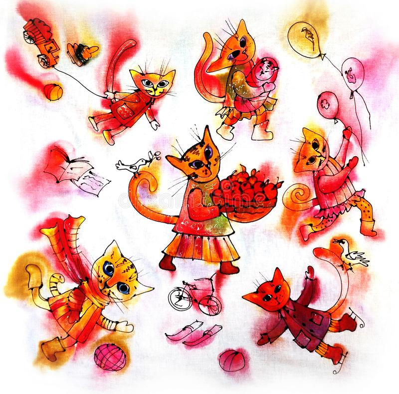 Mångfärgade roliga katter i deras kläder Skissa av färgpulver Vit bakgrund Sjal modell, design, grafiskt konstverk vektor illustrationer