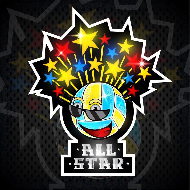 Mångfärgade stjärnor flyger ut från tecken för boll för strandvolleyboll i solglasögon med text all stjärna Vektorsportlogo för n royaltyfri illustrationer