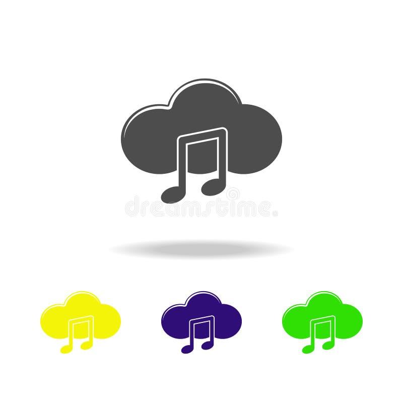 mångfärgade symboler för moln och för anmärkning Beståndsdel av musiksymbolen Tecken och symbolsamlingssymbol för websites, rengö vektor illustrationer