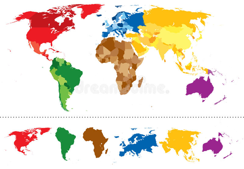 Mångfärgade världskartakontinenter royaltyfri illustrationer
