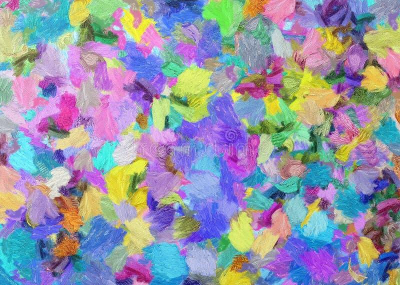 Mångfärgat abstrakt begrepp för måla för olja på kanfas royaltyfri illustrationer